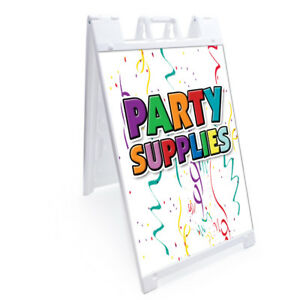 A frame Party Supplies Sign With Graphics On Each Side 24 X 36 Heavy Duty