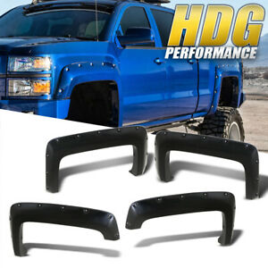 Fender Flares Set Pocket Riveted Style For 2014 2016 Chevy Silverado 1500 Pickup