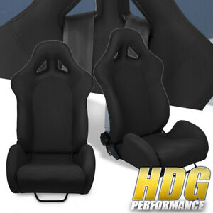 Universal Black Cloth Full Reclinable Racing Bucket Seats Pair W Sliders