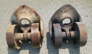 Industrial Cast Iron Double Wheel Casters Pair 47 Large 5 5 X 6 5 Mounting Area