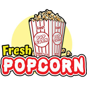 Fresh Popcorn 36 Concession Decal Sign Cart Trailer Stand Sticker Equipment