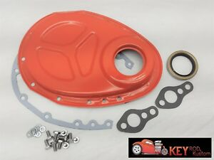 Small Block Chevy Orange Timing Chain Cover Kit Gasket 350 400 305 Roller Sbc