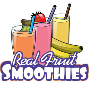 Real Fruit Smoothies 36 Concession Decal Sign Cart Trailer Stand Sticker