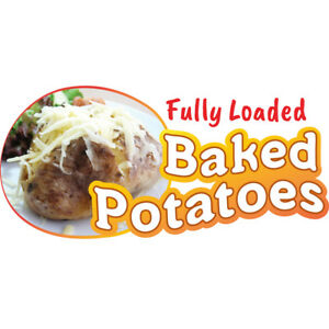 Baked Potatoes 48 Concession Decal Sign Cart Trailer Stand Sticker Equipment