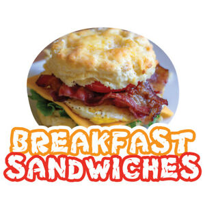 Breakfast Sandwiches 48 Concession Decal Sign Cart Trailer Stand Sticker