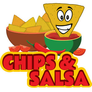 Chips Salsa 48 Concession Decal Sign Cart Trailer Stand Sticker Equipment