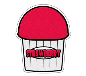 Strawberry Flavor Italian Ice 48 Decal Shaved Ice Cart Trailer Stand Sticker