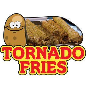 Tornado Fries 48 Concession Decal Sign Cart Trailer Stand Sticker Equipment