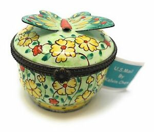 Kelvin Chen Enameled Postage Stamp Dispenser Floral With 3 d Butterfly