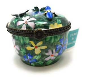 Kelvin Chen Enameled Postage Stamp Dispenser Floral With 3 d Flowers And