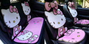 Hello Kitty Car Seat Covers Ice Silk Cute Pink Front Rear Seat Cover Full Set