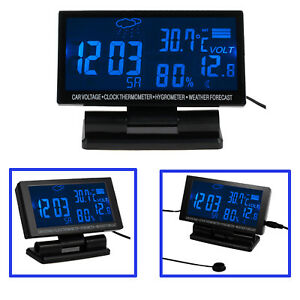 Auto Car Vehicle Blue Digital Lcd Monitor Thermometer Voltage Alarm Clock