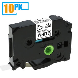10pk Tz231 Tze231 Black On White Label Tape Compatible For Brother P touch 12mm