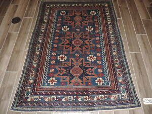 Antique Caucasian Shirvan Leski Star Wool Rug 4x6ft