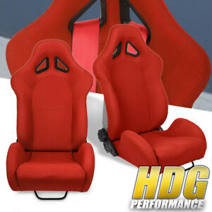 Universal Red Cloth Full Reclinable Racing Bucket Seats Pair W Sliders