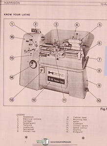 Harrison 10 aa Precision Lathe Operators Instruction And Parts Manual