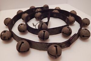 20 Brass Vintage Antique Sleigh Bells Jingle Bells On 53 Inch Leather Strap