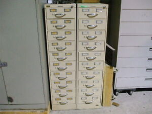 2 Steelcase Vintage Industrial 10 Drawer Index Card File Cabinet 20 Drawers