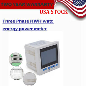 Ac 380v 5a Digital Display Three phase 3p Ammeter Voltmeter Watt Meter Rs485 New