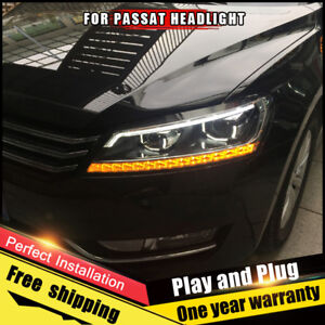For Vw Passat Headlights Assembly Bi Xenon Lens Double Beam Hid Kit 2012 2015