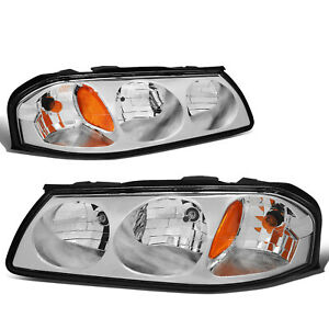 Fit 2000 2005 Chevy Impala Pair Chrome Housing Amber Turn Signal Headlight Lamp