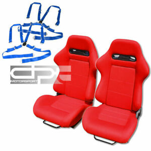 Reclinable Jdm Red Cloth Bucket Racing Seats 4 Point Blue Camlock Belts Sliders