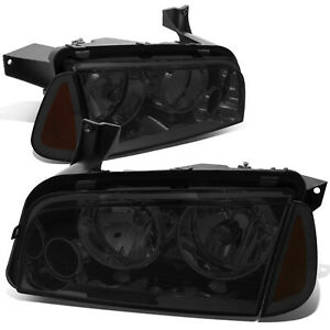 Fit 2006 2010 Dodge Charger Pair Smoked Houisng Headlight Amber Turn Signal Lamp