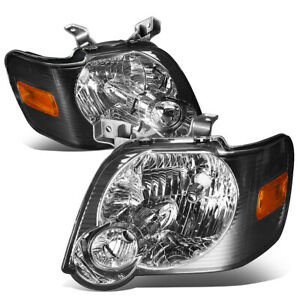 Fit 2006 2010 Ford Explorer Pair Smoked Housing Amber Corner Headlight lamp Set