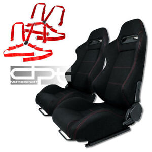 Reclinable Jdm Black Cloth Bucket Racing Seats 4 Point Red Camlock Belts Sliders