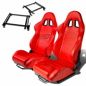 Type 1 Racing Seat Red Pvc Silder Rail For 02 06 Acura Rsx Dc5 K20 Bracket X2