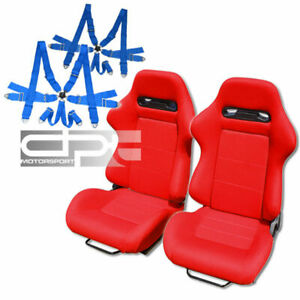 Reclinable Jdm Red Cloth Bucket Racing Seats 6 Point Blue Camlock Belts Sliders