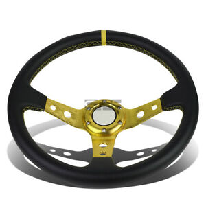 Aluminum 350mm Racing Steering Wheel Jdm Gold 3 spoke Pvc Leather Covered Grip