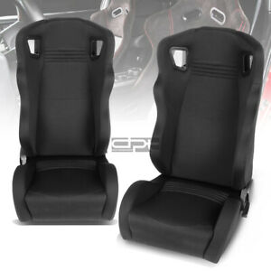 Universal Woven Frabic High Head Rest Black Performance Racing Seat Left Right