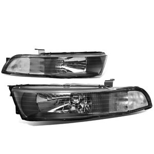 Fit 99 03 Mitsubishi Galant Pair Black Housing Clear Corner Headlight Lamps Set