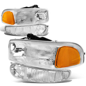 Fit 01 07 Gmc Sierra yukon Denali Clear Amber Headlight bumper Turn Signal Lamps
