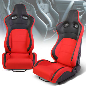 Pair Left Right Black Red Fabric Reclinable Sport Racing Seats Universal Slider