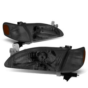 Fit 98 00 Toyota Corolla Pair Smoked Housing Amber Corner Driving Headlight lamp