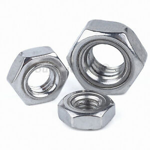 M3 M4 M5 M6 M8 M10 M12 Hexagon Weld Nuts A2 304 Stainless Steel Fit Screws Bolts