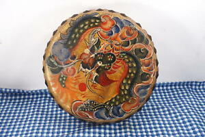 Vintage Antique Chinese Drum 10 In Phoenix Dragon Firebird Fatshan Canton China