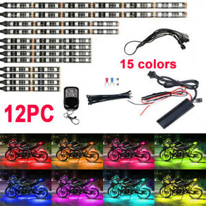 12pc 15colors Rgb Led Motorcycle Lighting Kit Accent Neon Glow Flexible Strip Us