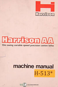 Harrison Aa 13 Lathe Operations Maintenance Parts And Wiring Manual