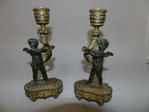 Pair Antique French Cherub Bronze Patinated Candleholders Napoleon Iii