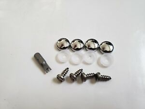 Front Bmw Security Anti Theft Auto License Plate Screws Stainless Steel S Chrome