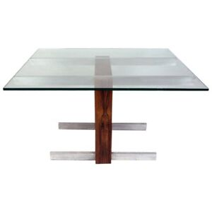 Vintage Rosewood And Metal Cubist Table Base By Vladimir Kagan