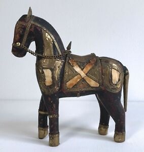 Antique Vintage Hand Carved Wooden Horse Hammered Brass Armor Stone Bone Inlay