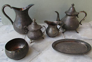 Kabe 950 Sterling Repousee Tea Set Persian Egypt Palestine Turkey Jewish