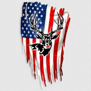 Whitetail Deer Decal American Flag Hunting Window Truck Gun Safe Case Sticker