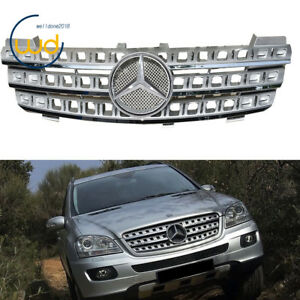 New 3 Fin Front Hood Silver Chrome Grill Grille For Mercedes Ml Class W164 06 08
