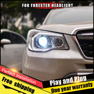 For Forester Headlights Assembly Bi Xenon Lens Double Beam Hid Kit 2014 2018