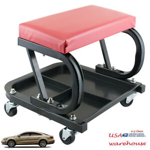 Cushioned Car Repair Roller Seat Padded Mechanics Auto Workshop Bench Usa Seller